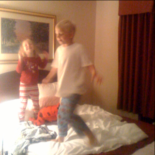 Monkeys jumping on the bed