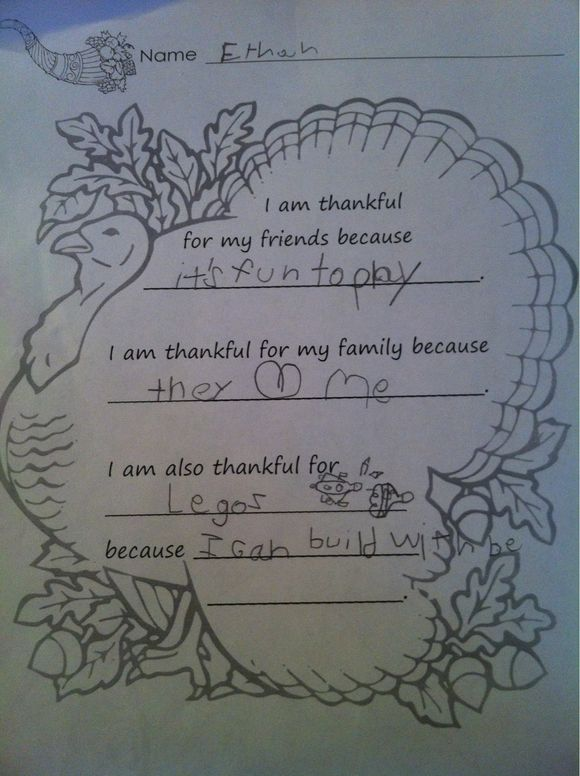 Ethan's Thanksgiving Thoughts 2011