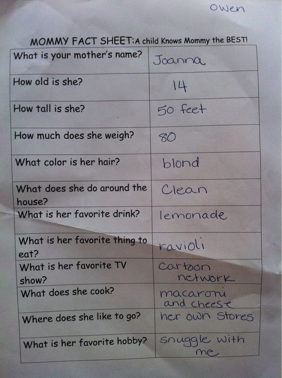 All About Mommy... According to Owen